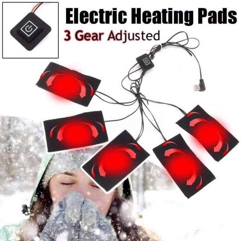 1Set USB Electric Heated Jacket Heating Pad 5V Carbon Fiber Heating Pad Electric Heating Sheet 3 5 8 Pads Heating Warmer Pad #ED