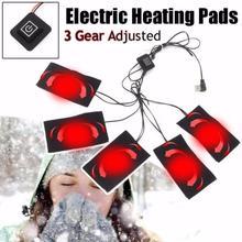 1 juego USB chaqueta con calefacción eléctrica almohadilla calefactora 5V fibra de carbono lámina calefactora eléctrica 3 5 8 almohadillas almohadilla calefactora # ED