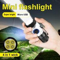 Linterna led potente de 8000 lúmenes, minilinterna táctica LED resistente al agua, recargable con batería de 18350/18650, usb, 4 x XPG