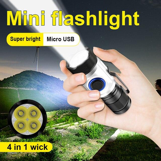 8000 التجويف أقوى مصباح ليد جيب الشعلة usb صغير 4 * XPG led التكتيكية مقاوم للماء قابلة للشحن 18350/18650 بطارية مصباح المخيم