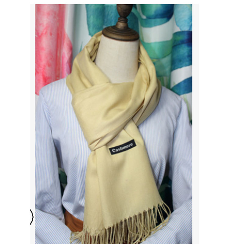 Meihuida Winter Women Soft Comfortable Pashmina Silk Classic Solid Cashmere Tassels Wool Scarf Wraps