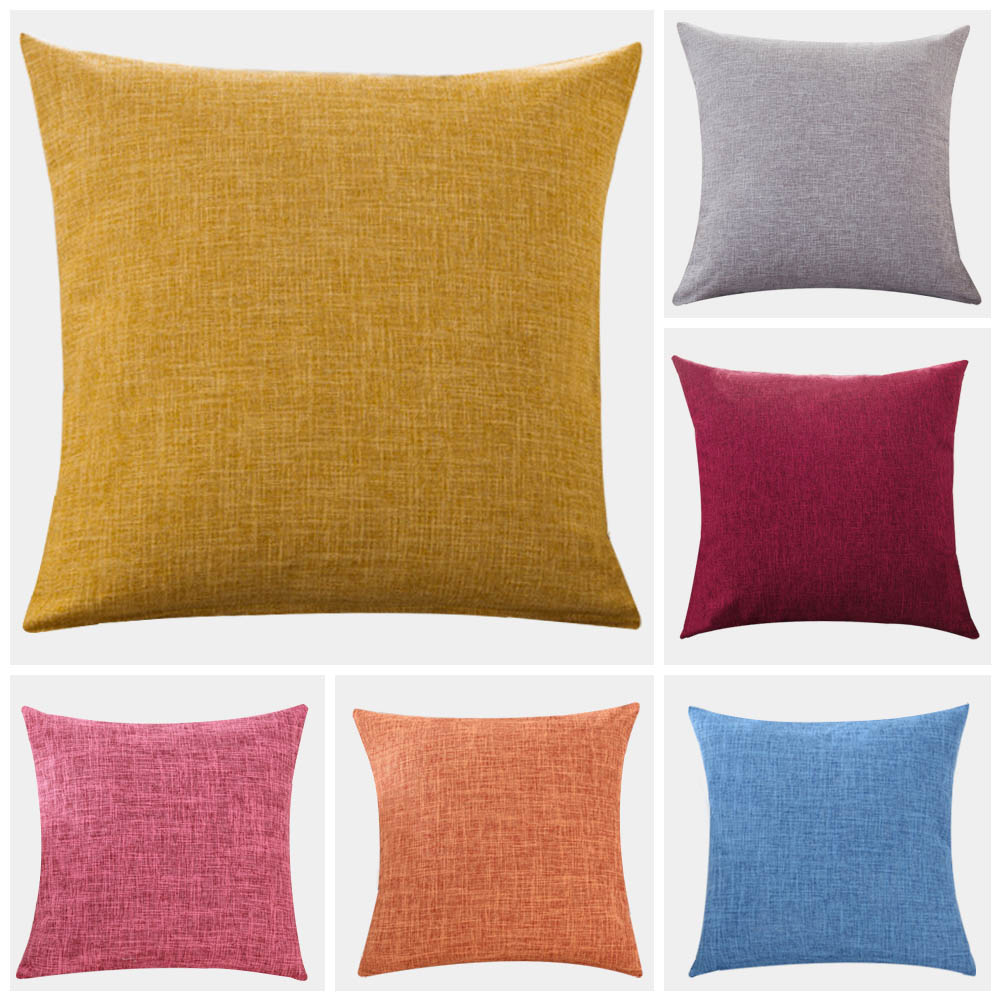 Meijuner Simple Solid Pillow Cover Cotton Linen Plain Pillowcases Decorative Living Room Cushion Covers For Sofa Home Car