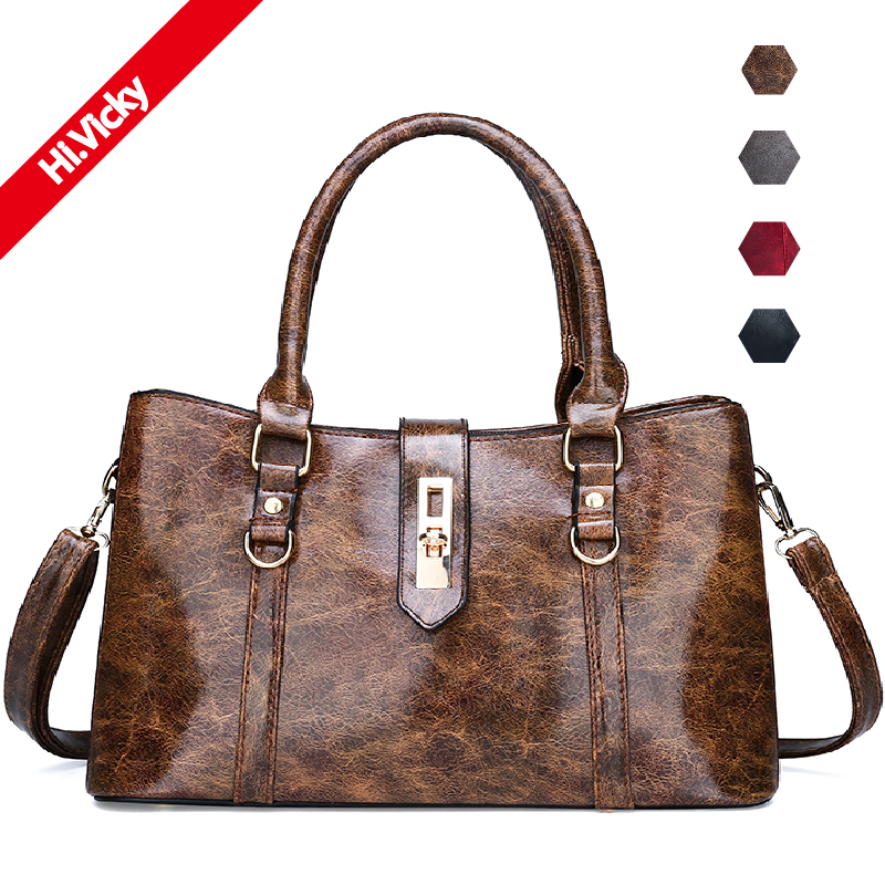 2019 New Luxury Handbags Women Bags Brand Designer Split Leather Handbag Top-handle Female Shoulder