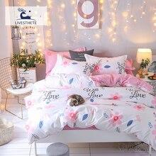 Liv-Esthete Fashion Art Flower Pink Bedding Set Soft Printed Duvet Cover Pillowcase Double Queen King Bed Linen Flat Sheet