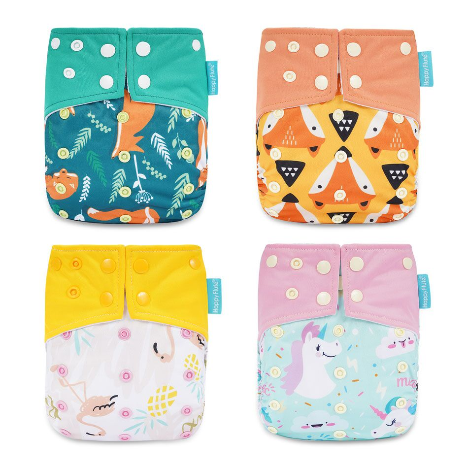 HappyFlute Cloth Diaper Suede Cloth Inner Baby Diaper Waterproof And Reusable Diaper Dual Gussets