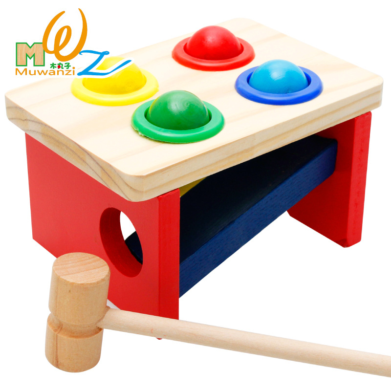 Wooden creative educational toys baby early education wooden quality knocking table color matching toy gift M17 image