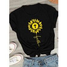 Girassol fé cruz camiseta unissex inspirador religioso cristão tshirt estética feminina gráfico jesus topos t transporte da gota