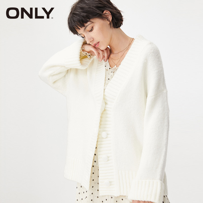 ONLY Winter Loose Fit Pure Color V-neckline Mid-length Cardigan Sweater| 11933B506