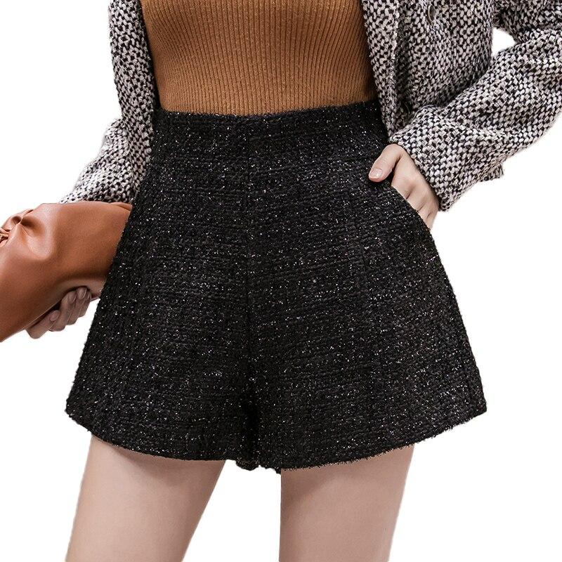 Autumn Winter New Bright Silk Women Woolen Shorts High Waist Wide Leg Loose Black Tweed Warm Shorts Women Casual Ladies Shorts