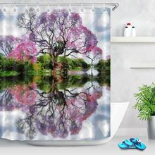 Oil Painting Natural Scenery Shower Curtain Bathroom Art Decoration Green Plant Lake Water Tree Pattern Fabric Bath Curtains