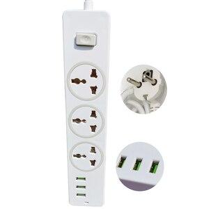 Image 4 - שולחן עבודה אוניברסלי שקע כוח רצועת האיחוד האירופי Plug 2M הארכת כבל בית משרד 3 AC לשקע 3 יציאת USB מטען מחוון אור בעל
