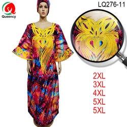 LQ276 rozszerzone rękawy sukienka z ankary afryka kobiety Plus rozmiar Boubou haft długi Bazin sukienka z kamieniami na imprezę 2XL-5XL