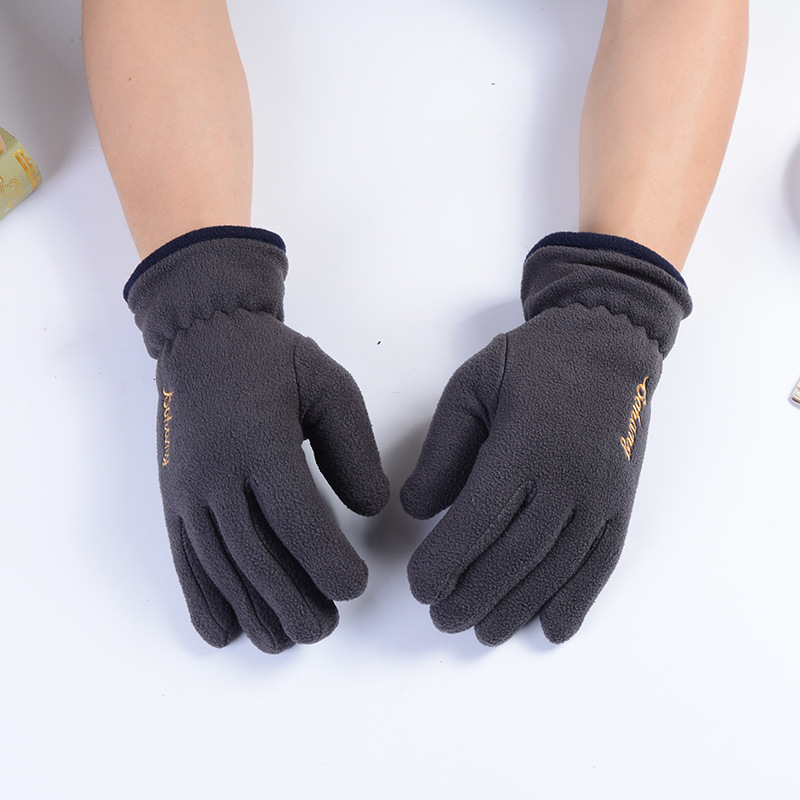 Autumn And <font><b>Winter</b></font> Fleece <font><b>Gloves</b></font> <font><b>Men's</b></font> Wrist Outdoor <font><b>Cycling</b></font> Sports Ski Warm Non-slip Mittens Embroidered Elastic <font><b>Men</b></font> Accessories image