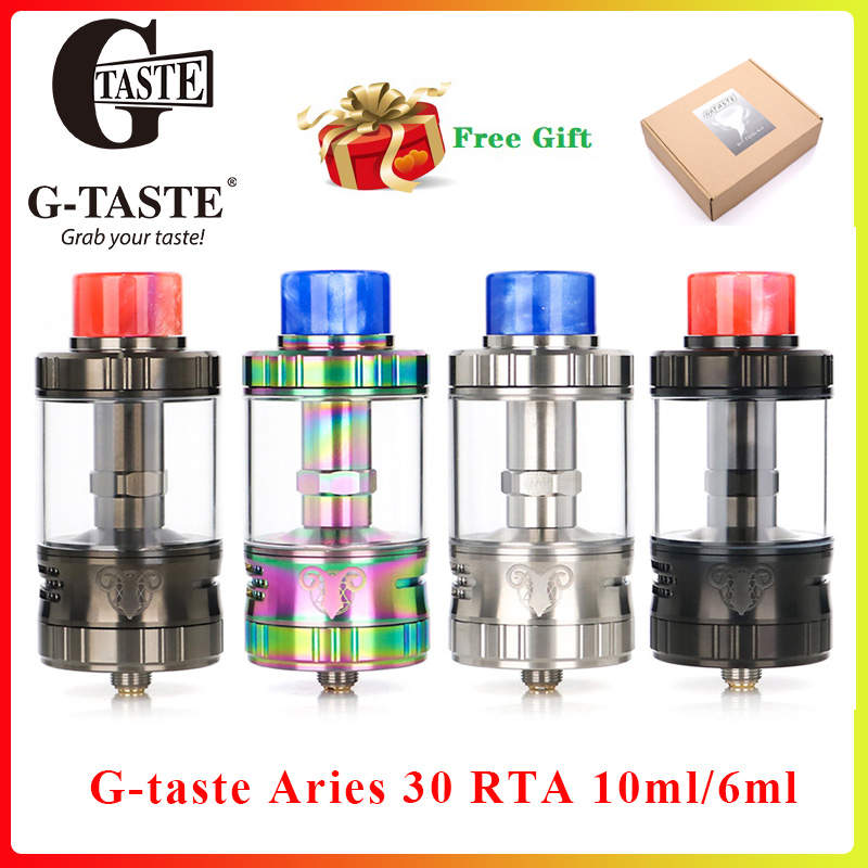Free gift G-taste Aries <font><b>30</b></font> RTA 10ml/6ml Unique screw AFC system <font><b>Vape</b></font> Atomzier vs Aromamizer Lite RTA Fit E Cigarette box mod image