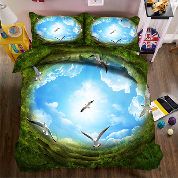 DIY Printed Bedding Duvet Cover set Blue Sky Scenery Series Pattern Single/Double Bedding set Soft Fabric Bed Comforter sets