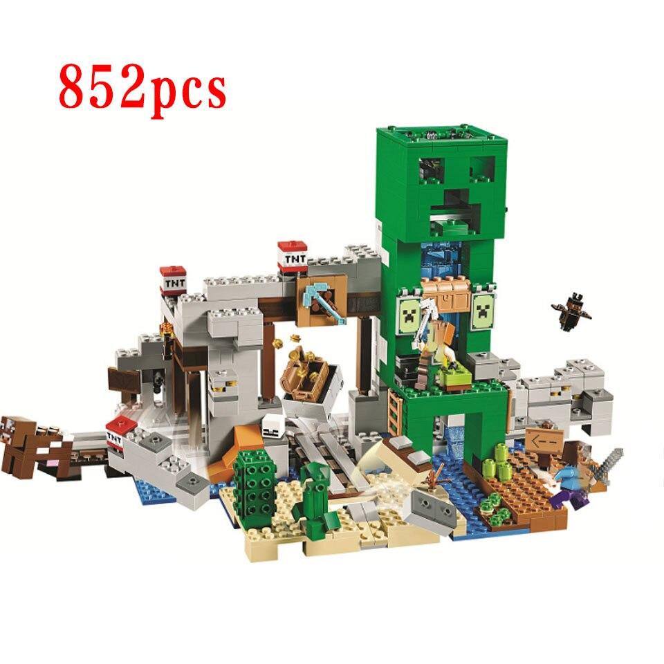 852 pièces mon monde la Mine Creeper blocs de construction compatibles Legoinglys Minecraftinglys 21155 briques jouets pour enfants