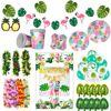 Decoración de flamenco Aloha Luau para fiesta hawaiana, suministros de fiesta Tropical de verano, Palma de hoja, piña, fiesta de cumpleaños, decoración de boda