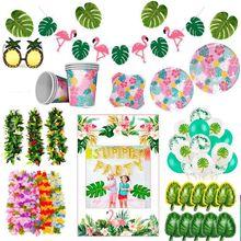 Fiesta hawaiana, decoración de flamenco Aloha Luau, hoja de palma, piña, suministros de fiesta Tropical de verano, fiesta de cumpleaños, decoración de boda hawaiana