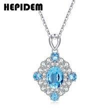 Hepidem 100% realmente topázio pingente colar feminino 925 prata esterlina natural azul pedras preciosas gargantilha declaração com corrente h1280