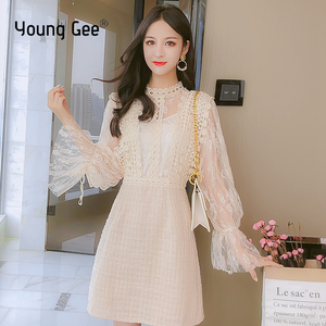 Image 1 - Young Gee Elegant Embroidery Party Dresses Spring Autumn Flare Sleeve Lace Floral Tweed Patchwork Office Lady Mini Dresses robe