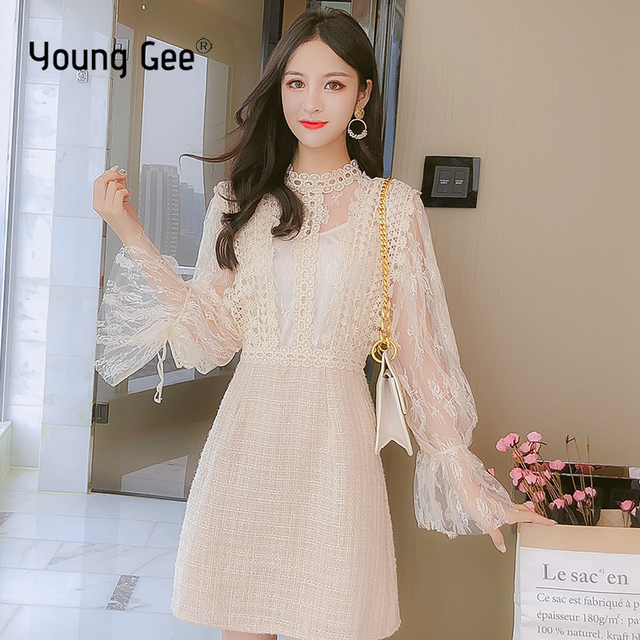Young Gee Elegant Embroidery Party Dresses Spring Autumn Flare Sleeve Lace Floral Tweed Patchwork Office Lady Mini Dresses robe