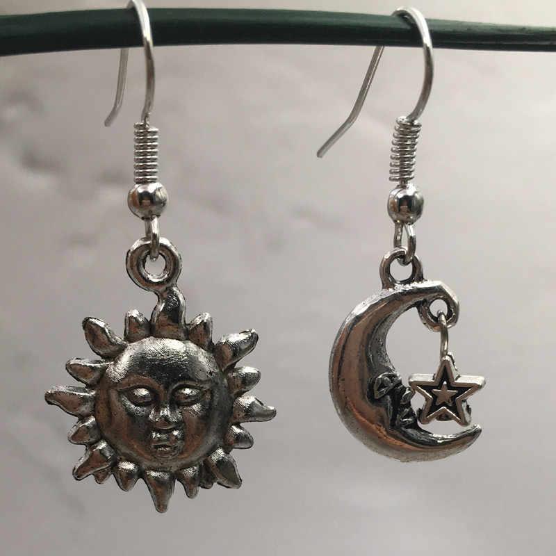 Handmade MISMATCH ดวงอาทิตย์ดวงจันทร์และดาว Drop ต่างหู CELESTIAL ของขวัญเงินทิเบต,Wicca,Pagan,Crescent Moon ต่างหู