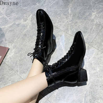 2019chic Martin boots female British style spring and autumn ins patent leather boots black thick with handsome motorcycle boots
