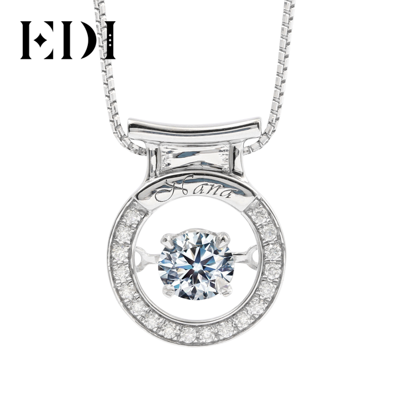 Big 5//8ct Rond Diamant Naturel Solitaire Collier Pendentif 14K Or Blanc
