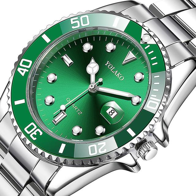 Luxury Men's Watch Stainless Steel Waterproof Clock Male Quartz Calendar Wristwatches Fashion Sport Green Dial Watch reloj hombr Accessories Jewellery & Watches