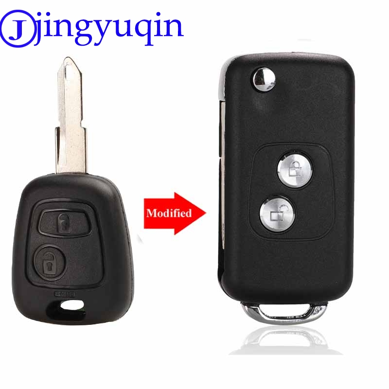 jingyuqin 2 Buttons Modified Flip Car Key Case Blank Shell For Citroen C1 C2 C3 Xsara Picasso For <font><b>Peugeot</b></font> 206 306 307 <font><b>406</b></font> image
