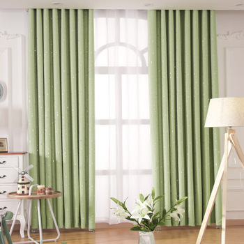Simple Hot Flower Blackout Cloth Art Curtain Nordic Style Silver Star Living Room Bedroom Study Curtain Customized