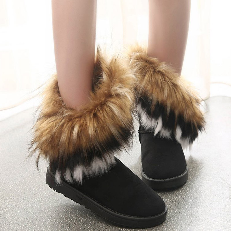 Women Fur Boots Ladies Winter Warm Ankle Boots For Women Snow Shoes Style Round-toe Slip On Female Flock Snow Boot Ladies Shoes 20