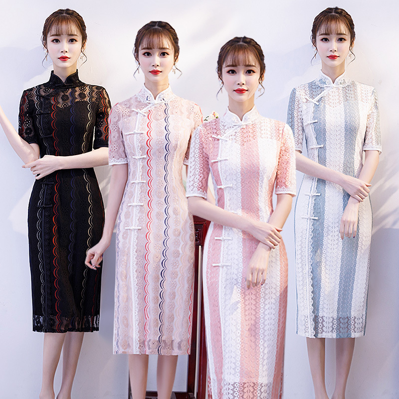 2020 New Quinceanera Ball Gown Lace Cheongsam Young Girl Long Elegant Chinese Welcome Ceremonial Dress Fashion Improved Summer