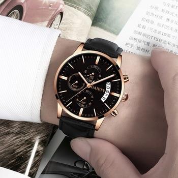 2021 Relogio Masculino Watches Men Fashion Sport Stainless Steel Case Leather Band watch Quartz Business Wristwatch Reloj Hombre - Black Rose Black