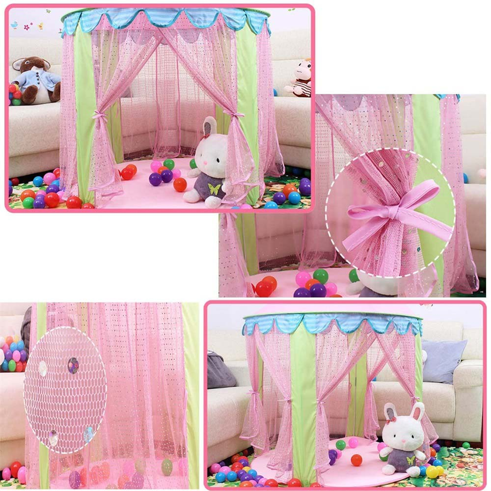 Купить с кэшбэком Baby Tent Children Princess Pink Castle Tents Portable  Girls Indoor Outdoor Garden Folding Play Tent Kids Balls Pool Playhouse
