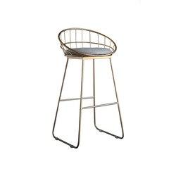 Silla de comedor nórdica, silla para mostrador de hierro, silla para mostrador de ocio concisa, silla de Metal dorado alta dorada original