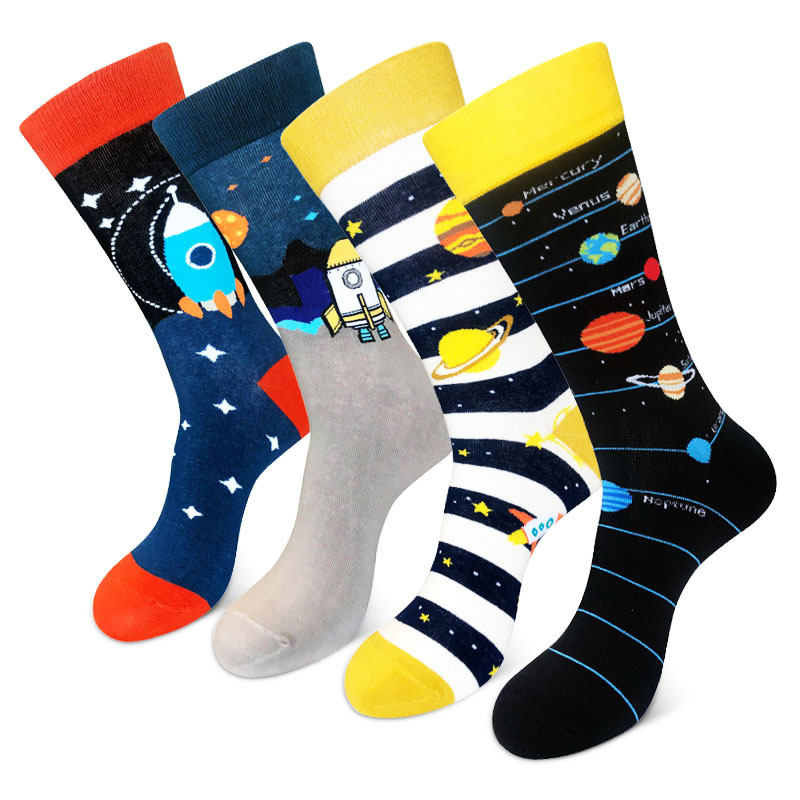 LIONZONE Brand Funny Mens Happy Socks Planet Star Socks Newly Style Colorful Men Combed Cotton Tide Streetwear Socks Long