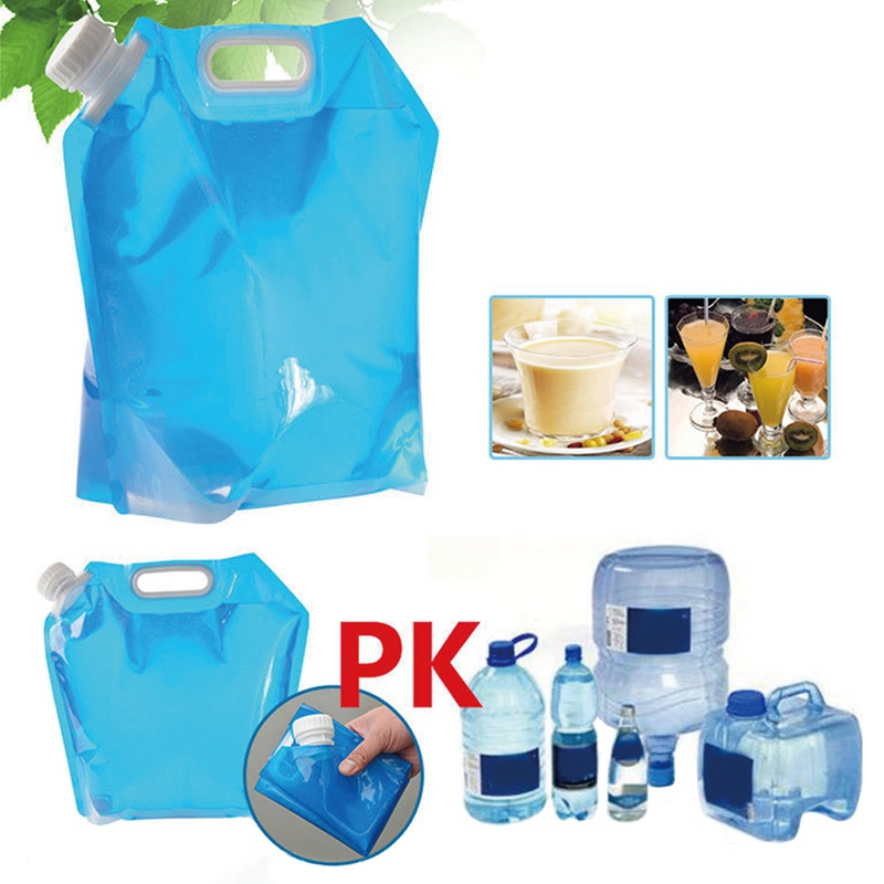 9 liter Blue Collapsible Portable Folding Water Bag Outdoor Camping Water Bucket