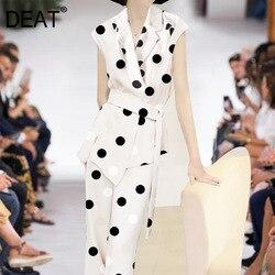DEAT 2020 turn-down colalr sleeveless polka dots printed vest jacket waist belt and high full length pants office set WL29800L