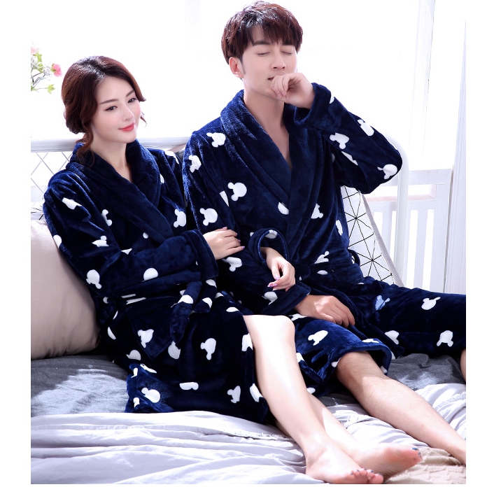 Men Casual Kimono Bathrobe Autumn Winter Flannel Long Robe Thick Warm Sleepwear Plus Size 3XL Nightgown Women Casual Home Wear