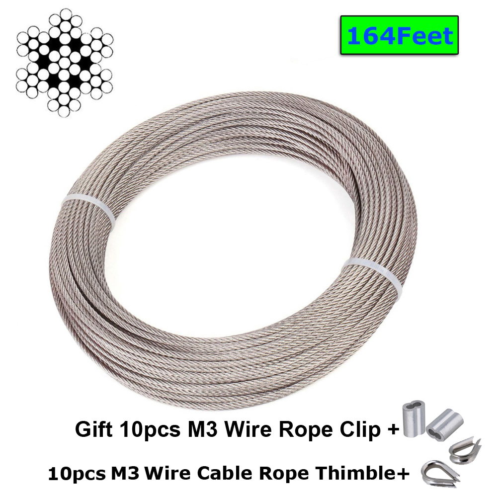 1/8 Inch Stainless Steel Aircraft Wire Rope For Deck Cable Railing Kit,7x19 100/164Feet T316 Marine Grade