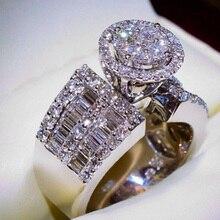 Huitan de lujo nuevos elegantes anillos para propuesta para mujeres con Micro pavimentados de compromiso de boda anillos por mayor lotes y anillos a granel