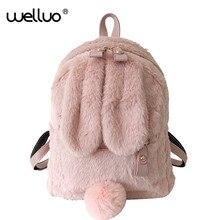Bonito da pele do falso mini mochila orelha de coelho mulheres sacos de ombro viagem moda pelúcia bagpack mochila escola para meninas xa566wb