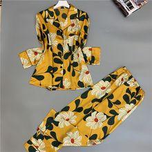 Cute 2 Piece Spring Autumn Women Sleepwear Faux Silk Satin Pajamas Set Long Sleeve Summer Suit Female Homewear
