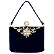 YYW Gold Crystal Flowers Plush Clutches Bag Party Purse Women Shoulder Diamond Evening Bags Ballot Lock Handbag Clutch