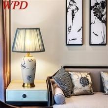 WPD Ceramic Table Lamps Blue Brass Luxury Desk Light Fabric for Home Living Room Dining Room Bedroom Office