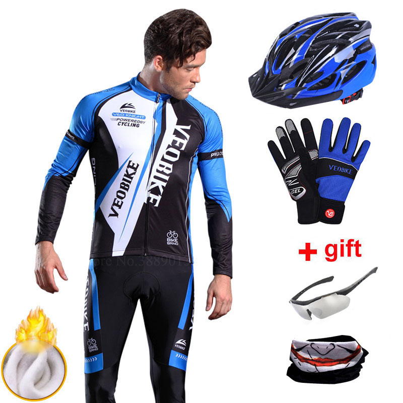 Pro Cycling Jersey Team Mountain Bike Clothing Men Bicycle Clothes Winter Thermal Warm Outdoor Sport Cycle Wear Set Accessories|Cycling Sets| |  -