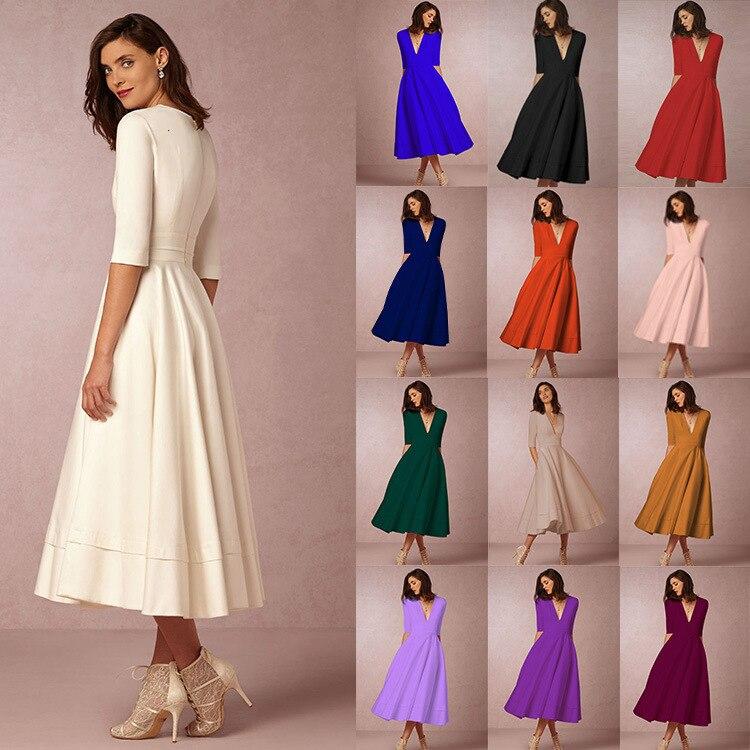 BGW Ever Pretty Sexy V Neck Half Sleeves Pleated Cocktail Dress High Stretch Maxi Size A-line Tea Length Formal Dress 5XL 6XL