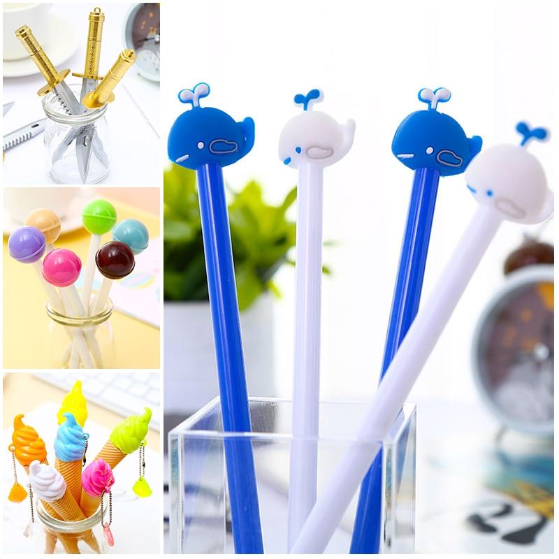 Korean Knife Weapon Cute Ice Cream Gel Pens Kawaii Whale Animal Funny Cartoon School Office Stationery Pen Cool Fun Kawai Thing
