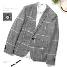 ZOGAA 2019 Spring Autumn Youth New Version Flat Collar Male Plaid Suits Mens Self-cultivation Leisure Single Piece Blazer
